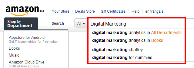 Screenshot of Amazon.ca